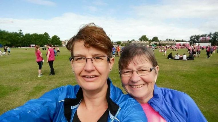 Angela and Kim at Race for Life