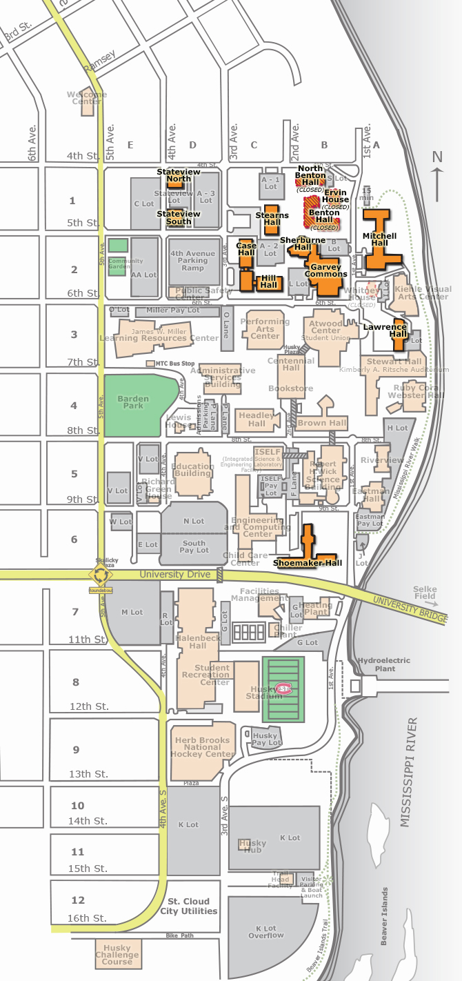 University Map Science Buildings Mn Life