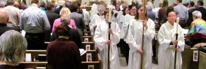 Procession and people in pews