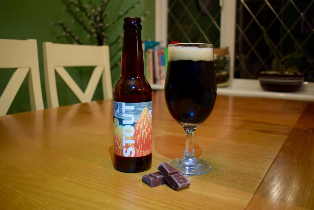 Big Drop Brewing Stout bottle and glass
