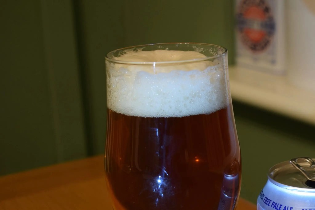 Innis and Gunn 'Innis and None' 0% pale ale head in glass