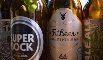 Fitbeer and Super Bock non-alcoholic beer bottles