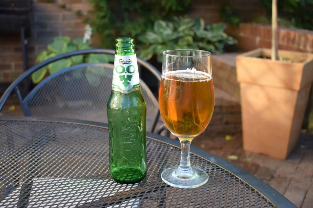 Carlsberg 0.0% bottle and glass