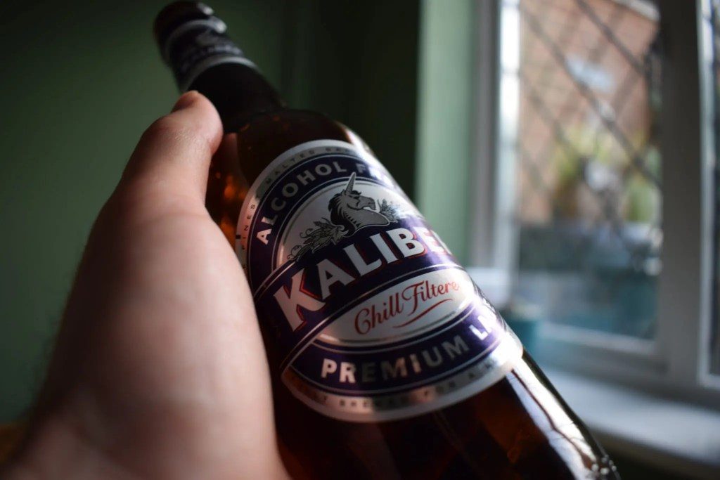 Close up of bottle of Kaliber non-alcoholic lager