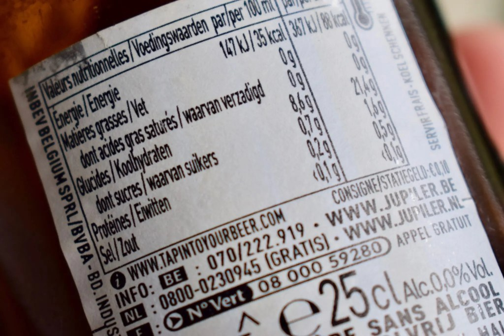 Alcohol-free beer label showing calories