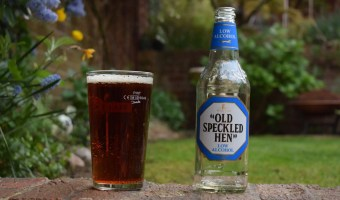 Old Speckled Hen Low Alcohol bottles and glass