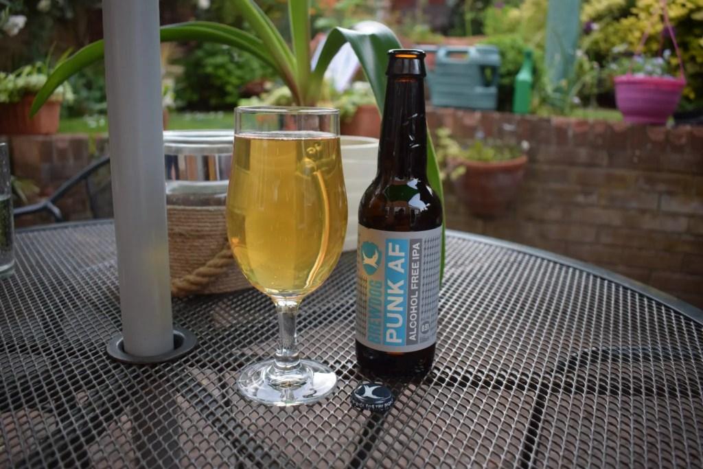 Brewdog Punk AF alcohol-free beer bottle and glass