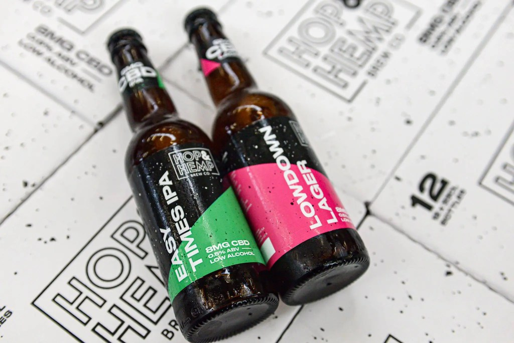 Two bottles of non-alcoholic CBD beer by Hop and Hemp Brew Co