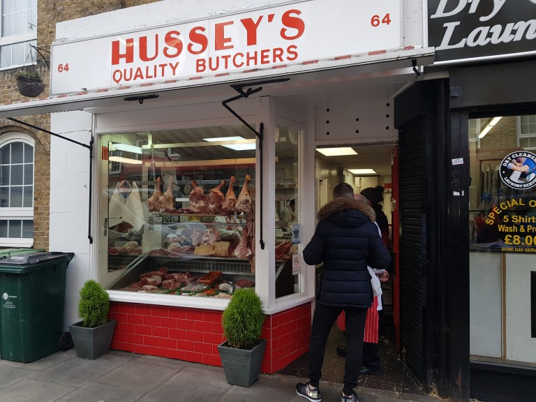 An image of the store front of Hussey Butcher