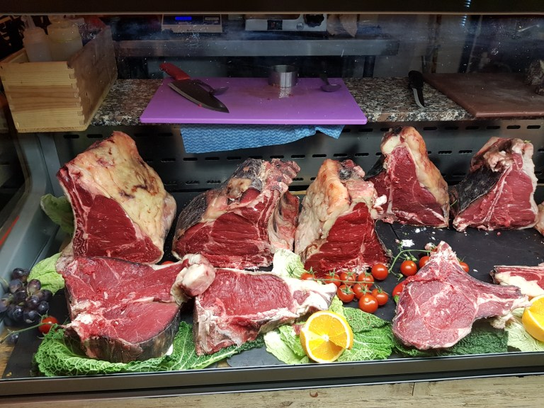 An image of the butcher counter at the entrance to Macellaio Clerkenwell