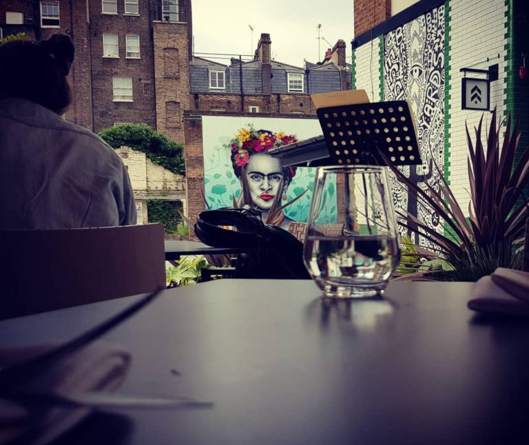 An image of Frida Kahlo in Eccleston Yards.