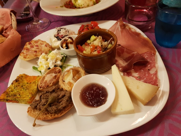 An image of the appetiser at Locanda del Baracotto
