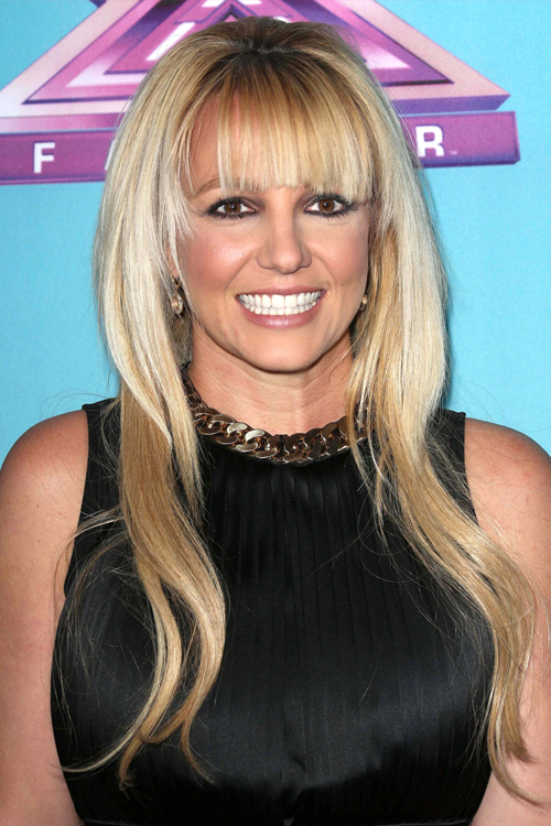Britney Spears Straight Golden Blonde Angled Blunt Bangs