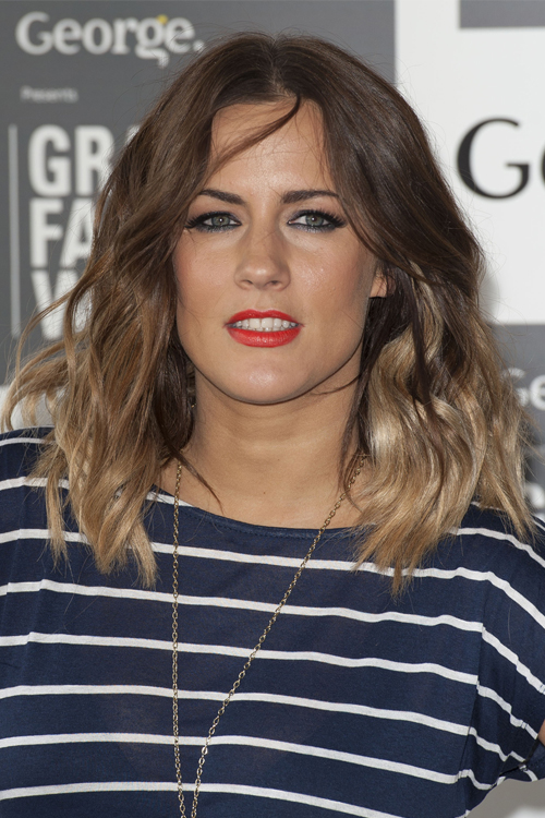 Caroline Flack Wavy Medium Brown Ombr Hairstyle Steal