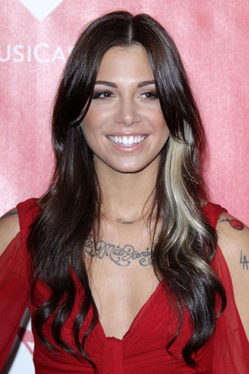 Christina Perri Wavy Dark Brown Streak Hairstyle Steal