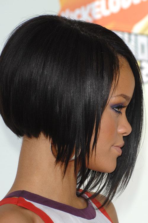 Rihanna Straight Black Angled Bob Asymmetrical Bob
