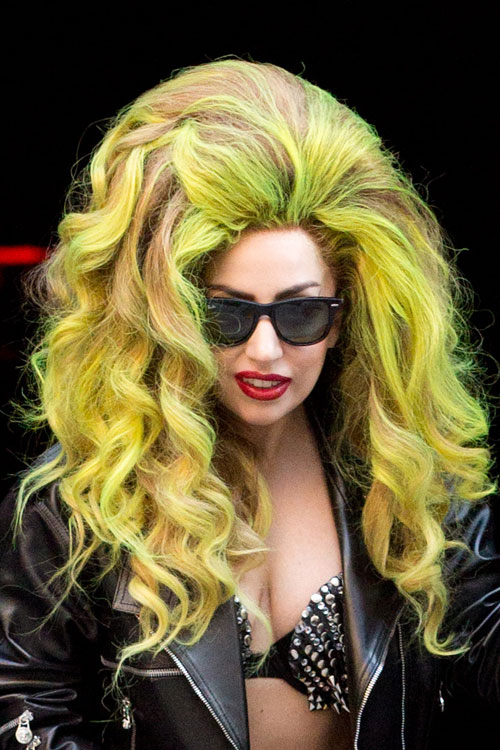 Lady Gaga Curly Green Bouffant Two Tone Hairstyle Steal