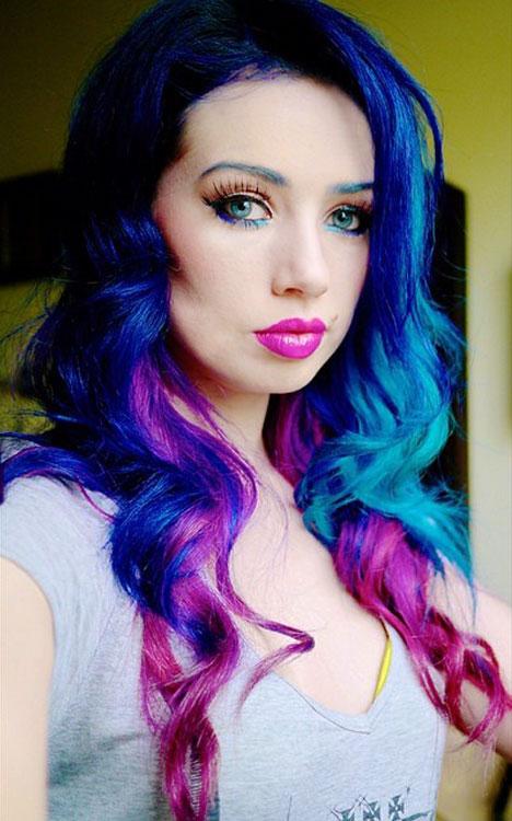 Skye Sweetnam Curly Blue Peek A Boo Highlights Tri Color