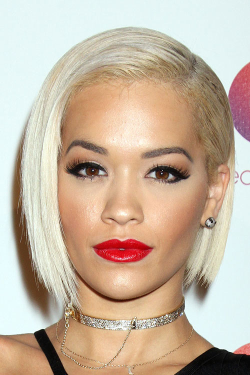 Rita Ora Straight Platinum Blonde Asymmetrical Bob Side