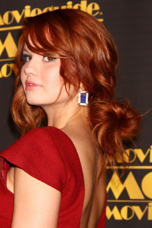 Debby Ryan Wavy Ginger Face Framing Pieces Sideswept
