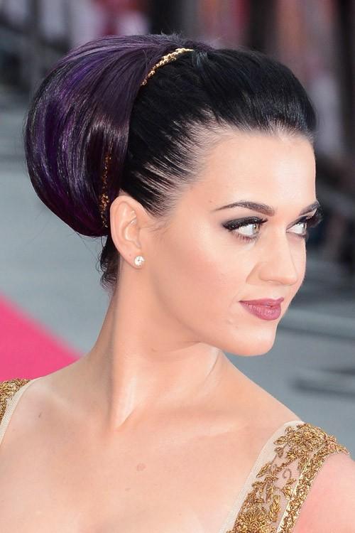 Katy Perry Straight Black Headband Pompadour Updo