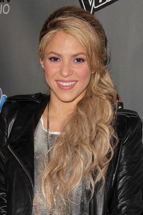 Shakira Wavy Ash Blonde Faux Sidecut Pinned Back Side