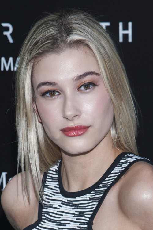 Hailey Baldwin Straight Ash Blonde Angled Hairstyle
