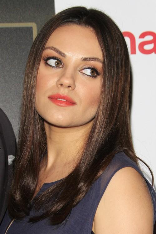 Mila Kunis Straight Dark Brown Hairstyle Steal Her Style