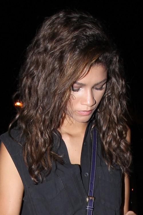 Zendaya Wavy Medium Brown Messy Hairstyle Steal Her Style