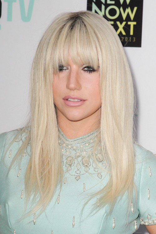 Kesha Straight Platinum Blonde Choppy Bangs Dark Roots