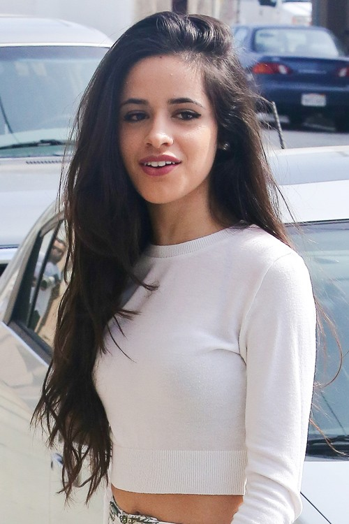 Camila Cabello Straight Dark Brown Side Part Hairstyle