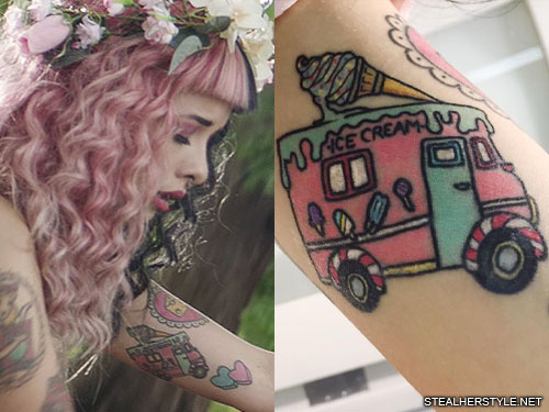 Melanie Martinez Car Ice Cream Popsicle Upper Arm Tattoo