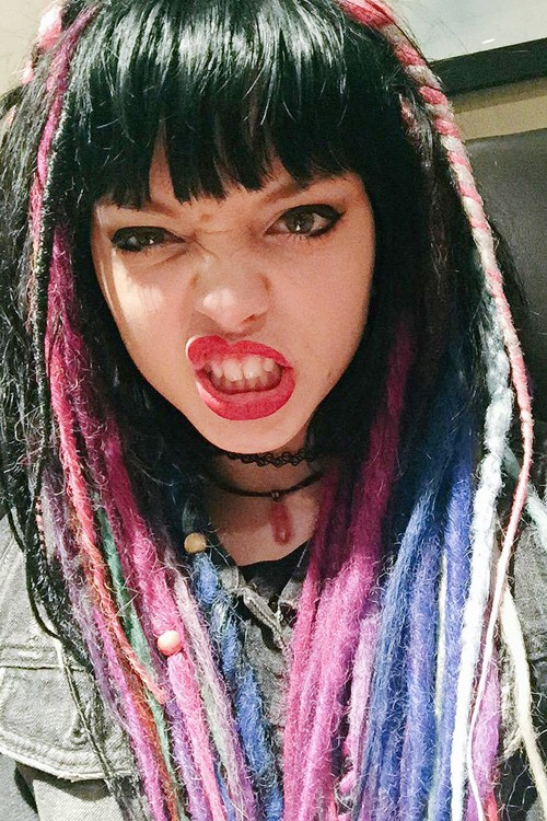 Rena Lovelis Straight Black Faux Dreads Rainbow Straight