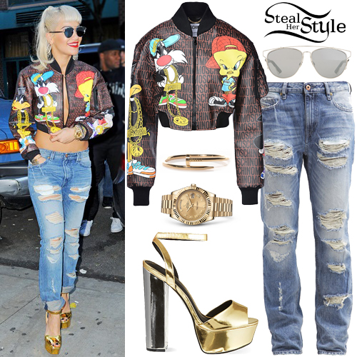 Rita Ora Looney Tunes Jacket Ripped Jeans Steal Her Style