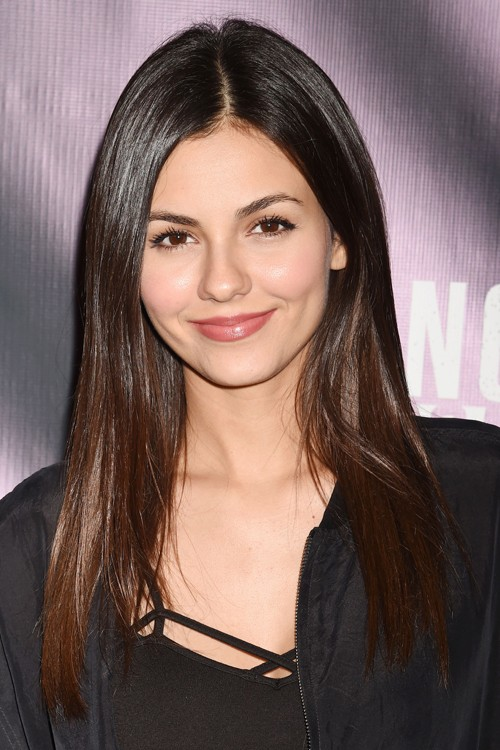 Victoria Justice Straight Dark Brown Flat Ironed Hairstyle