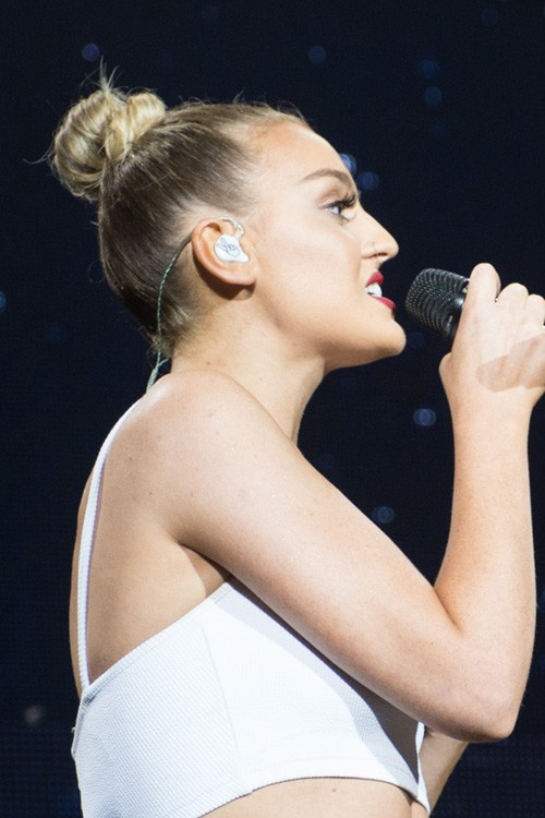 Perrie Edwards Straight Medium Brown Bun Ombr Hairstyle