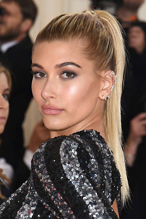 Hailey Baldwin Straight Platinum Blonde Dark Roots High