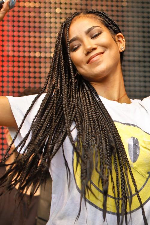 Jhen Aiko Straight Dark Brown Mini Braids Hairstyle