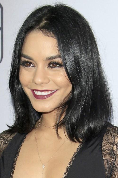 Vanessa Hudgens Straight Black Blunt Cut Bob Hairstyle