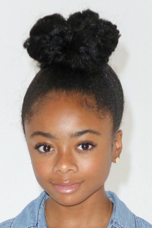 Skai Jackson Curly Teased Black Bun Hairstyle Steal Her
