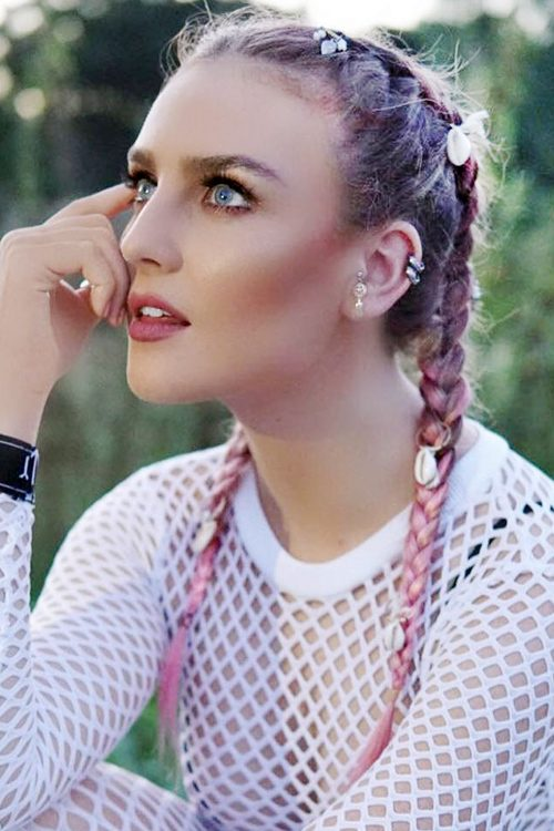 Perrie Edwards Straight Pink Dark Roots Pigtail Braids