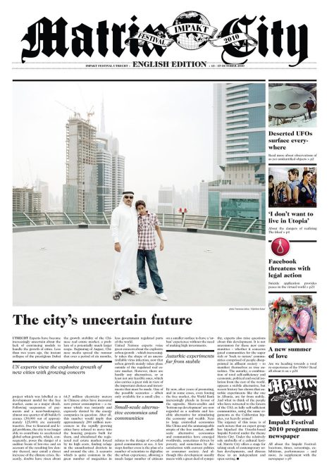 Matrix City newspaper cover, with cover photo by Francesco Jodice.