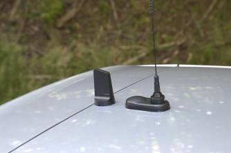 The aft antenna is the WeBoost mag-mount...