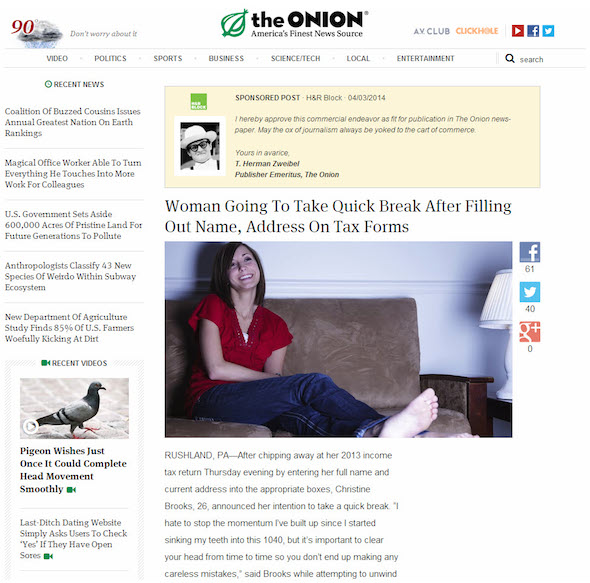 an advertorial examples; hr block ad on the onion