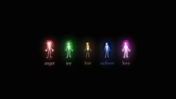 an artistic visualization of emotions including love and fear