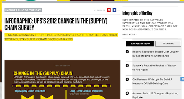 a native ad example: ups infographic posted on Fast Company