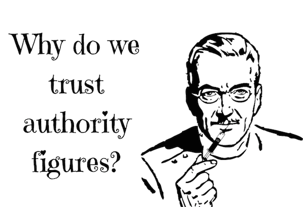 doctor with syringe in his hand and caption: why do we trust authority figures?