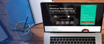 """webinar wednesday coaching and hot seat"" on a laptop screen"
