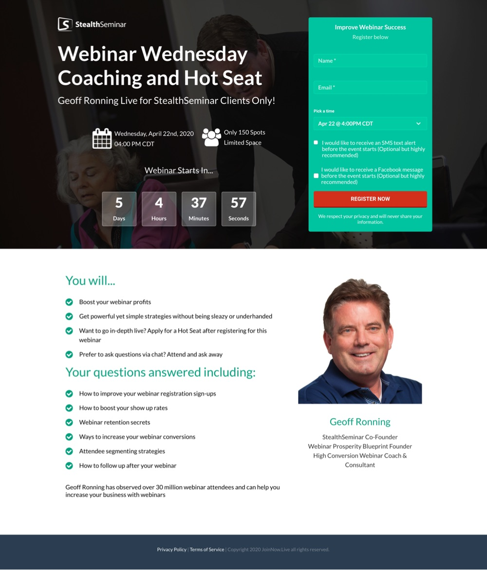 geoff ronning landing page