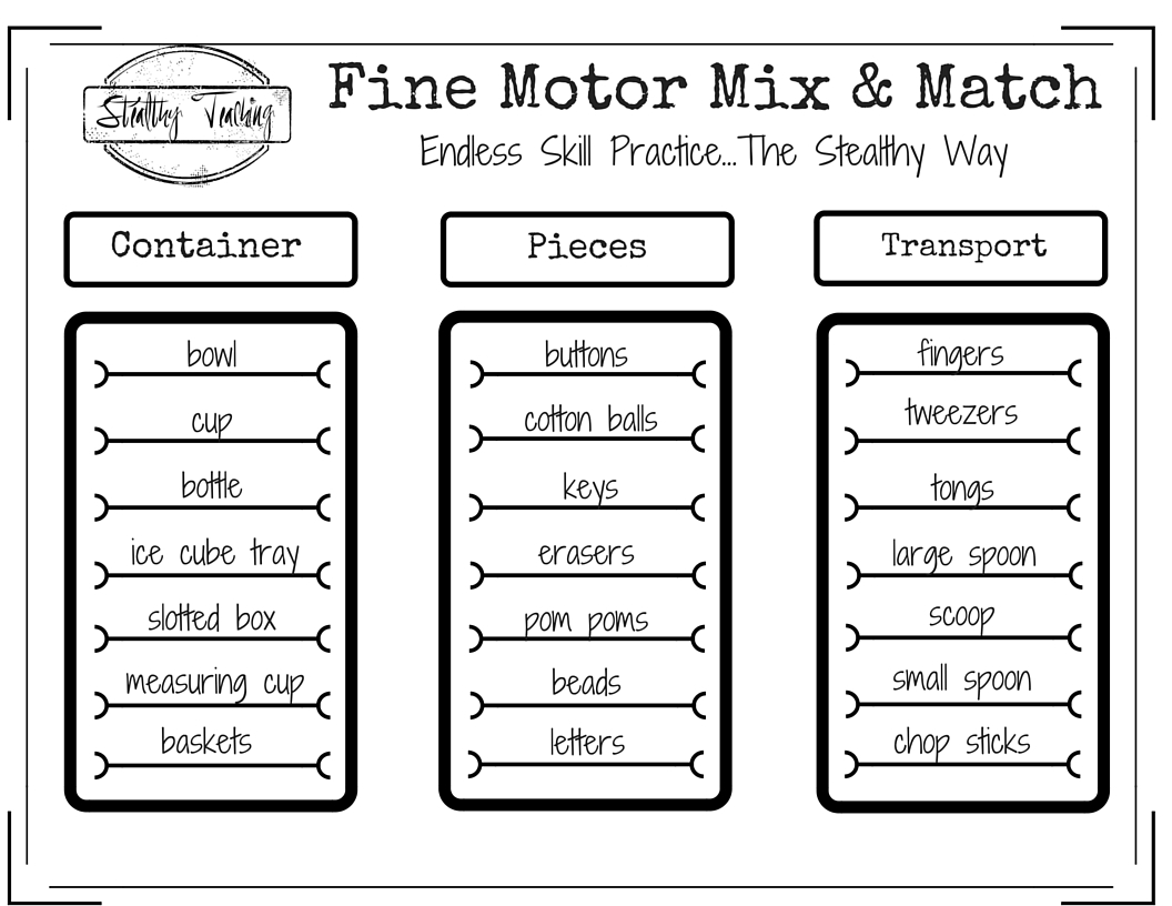 Fine Motor Mix Amp Match